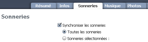 Synchronisation iPhone sonneries