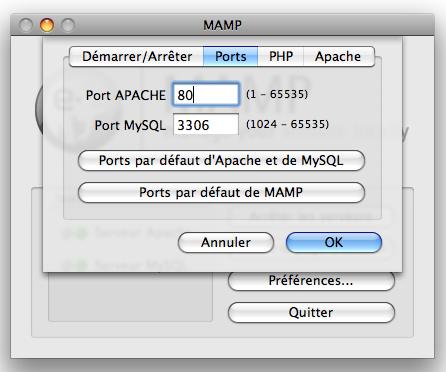 Configuration MAMP
